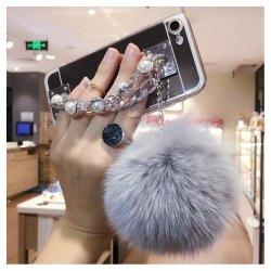 Etui na telefon Iphone 7 glamour lustrzane z zawieszką srebrne