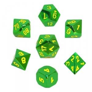 Komplet kości REBEL RPG - Metal - Zieleń z żółtymi numerami