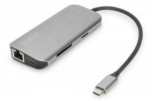 Stacja dokująca DIGITUS USB Typ C 8-portów 4K 30Hz 2x HDMI 2x USB3.0 RJ45 PD 3.0
