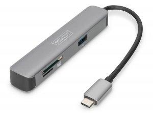 Stacja dokująca DIGITUS USB Typ C 5 portów 4K 30Hz HDMI 2x USB3.0 microSD SD/MMC srebrna