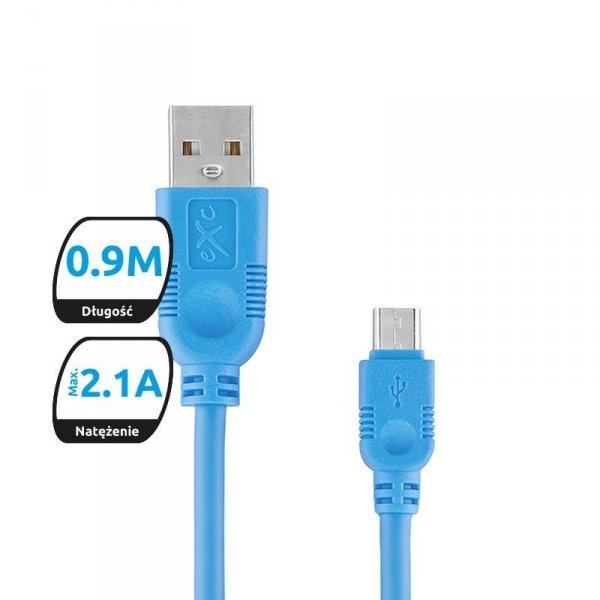 Kabel USB 2.0 eXc WHIPPY USB A(M) - micro USB B(M) 5-pin, 0,9m, niebieski