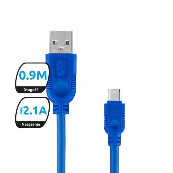 Kabel USB 2.0 eXc WHIPPY USB A(M) - micro USB B(M) 5-pin, 0,9m, granatowy