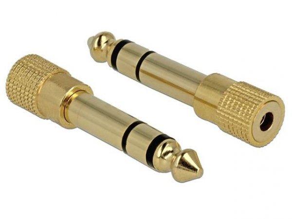 Adapter Delock Jack 6,35mm - Minjack 3,5mm M/F metalowy