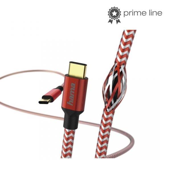 "Kabel USB 2.0 Hama Data ""Reflected"", USB Type-C - USB Type-C 1,5m, czerwony"
