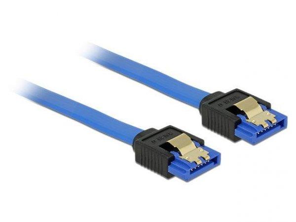 Kabel Delock SATA DATA III 0,20m z zatrzaskami metalowymi niebieski