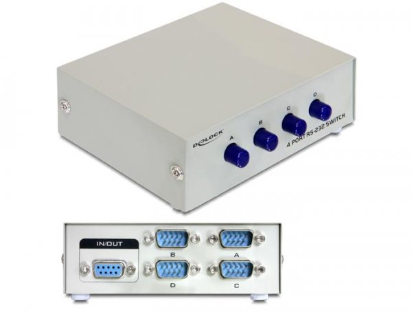 Switch RS-232 Delock 4x RS-232 szary