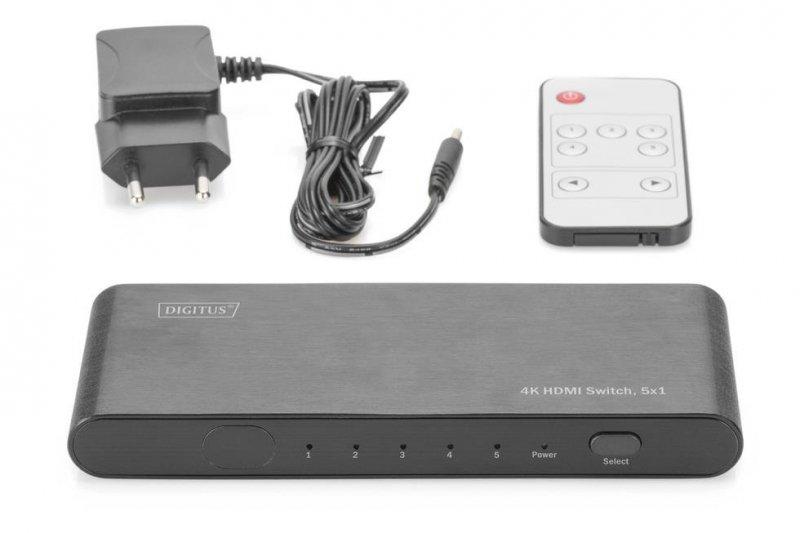 Przełącznik/Switch DIGITUS DS-45317 HDMI 5-portowy 4K 60Hz UHD 3D HDR HDCP 2.2 audio