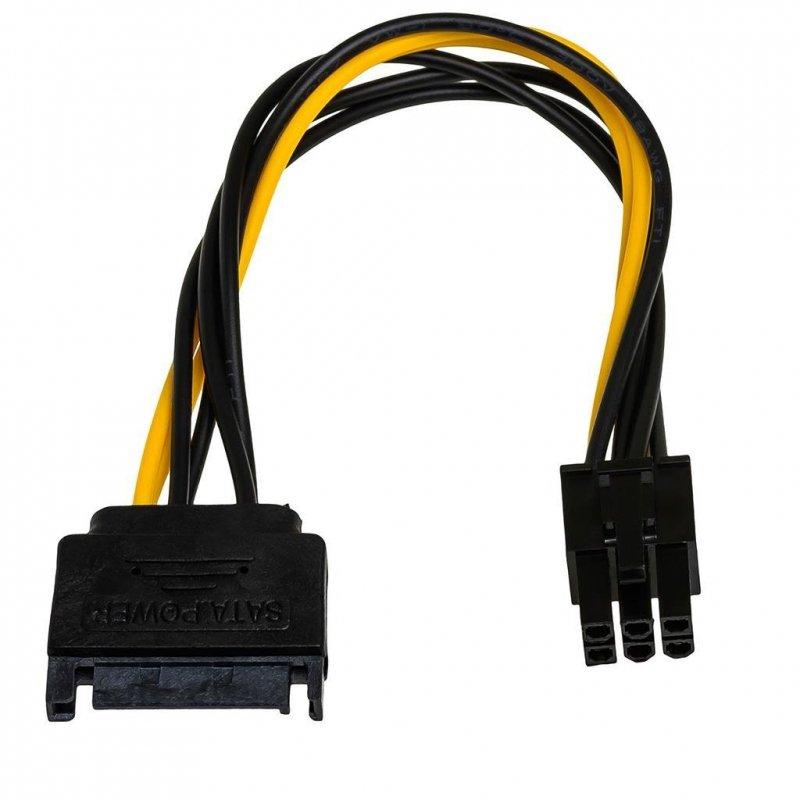 Kabel adapter Akyga AK-CA-30 SATA (M) - PCI-Express 6-pin (F) 0,15m