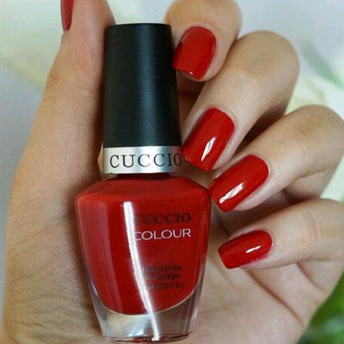 Zestaw lakierów Cuccio Colour - baza, kolor, top (3x13m) - klasyczna czerwień