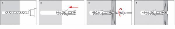 Kołki rozporowe KRX 10x50 z wkrętem 5x50 – 100 szt