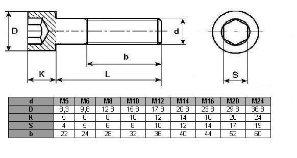 Śruba imbus DIN 912 oc M12x45 - 5 kg