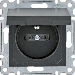 lumina Gniazdo zasilające z uziemieniem i pokrywą, 16 A/250 VAC, czarny WL1123