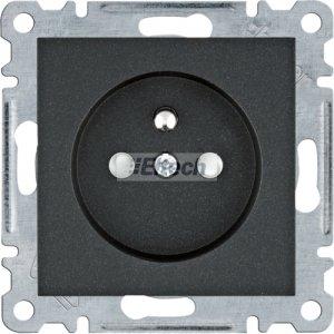 lumina Gniazdo zasilające z uziemieniem, przesłony styków, 16 A/250 VAC, czarny WL1043