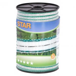 Taśma STAR 200m, 12mm, biało-zielona