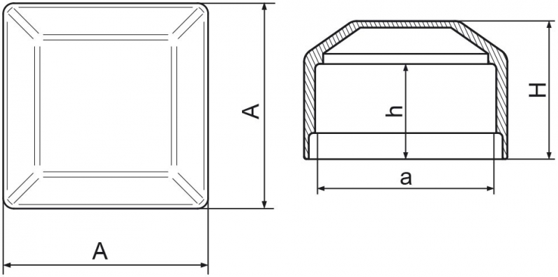 Nasadka na słupek ogrodzeniowy 60x60 mm - 1 sztuka