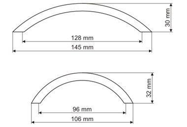 Uchwyt meblowy UG43 128mm - nikiel szczotkowany