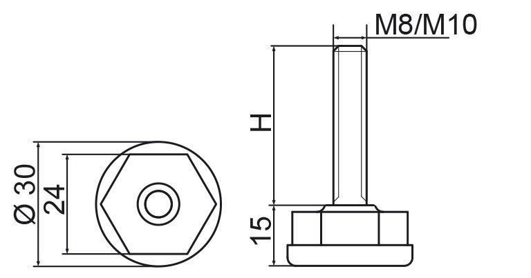 Stopka regulacyjna fi30 - M8x65 - 4 szt.