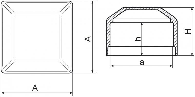 Nasadka na słupek ogrodzeniowy 80x80 mm - 50 sztuk