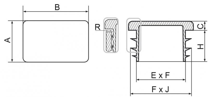 Zaślepka prostokątna 40x80mm - 10 szt.