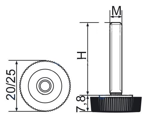 Stopka regulacyjna radełkowa fi25 M8x30