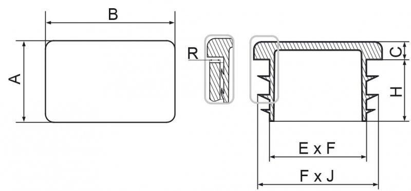 Zaślepki prostokątne 15x30mm - 50 sztuk