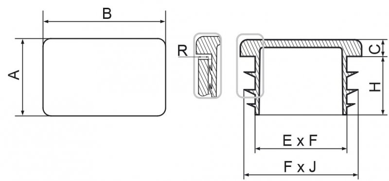 Zaślepka prostokątna 40x70mm - 10 szt.