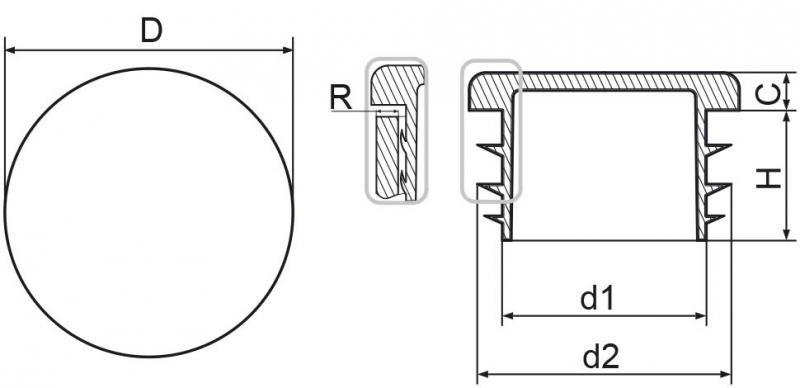 Zaślepka okrągła 25mm - 50sztuk