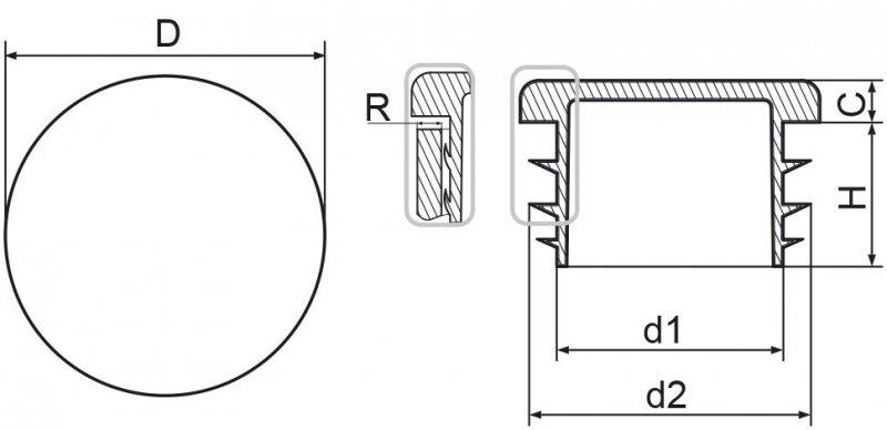 """Zaślepka okrągła calowa 60,3mm (2"""") - 50 sztuk"""