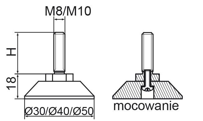 Stopka regulacyjno-obrotowa skręcana fi50 - M8x60 - 4 szt.
