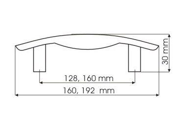 Uchwyt meblowy RU07 160mm - chrom satynowy