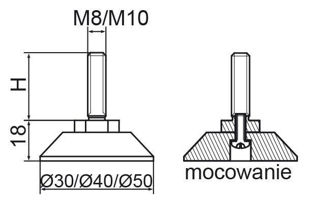 Stopka regulacyjno-obrotowa skręcana fi40 - M8x80 - 4 szt.