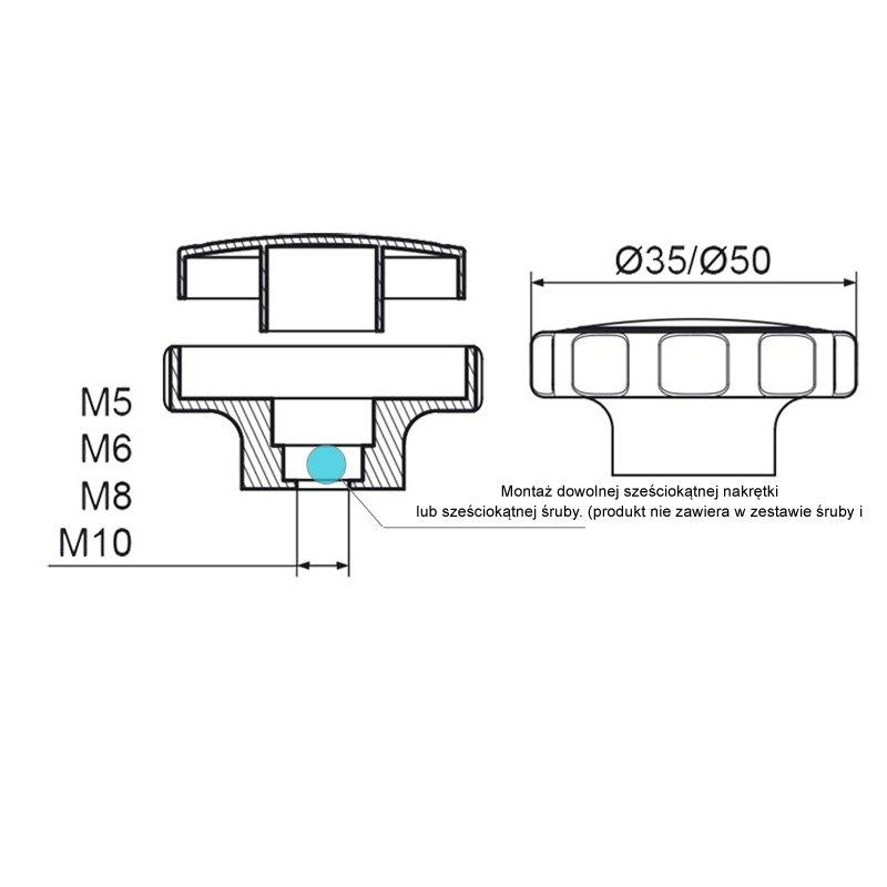 POK-02 Pokrętło składane fi50 M10