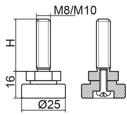 Stopka regulacyjno-obrotowa fi25 - M10x30 - 4 szt.