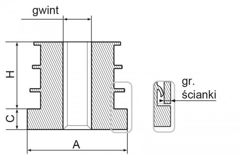 Wkładka z gwintem metalowym 25mm M8 ść.1,5-2,0 - 50 sztuk