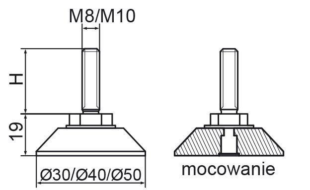 Stopka regulacyjno-obrotowa nitowane fi30 - M10x50 - 4 szt.