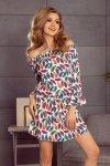 Elegancka sukienka XL Julie 198-2 Multicolor Pióra