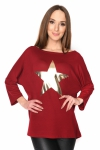 Bluzka damska PLUS SIZE S-3XL GOLD STAR BORDOWA