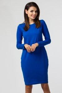 Sukienka PLUS SIZE 40-54 dzienna z dzianiny NIEBIESKA B-030 DUŻE ROZMIARY