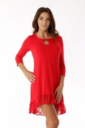 Sukienka tunika oversize z koronką ED08-1 Red