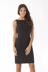 Dopasowana sukienka odcięta w pasie ED06-3 Black