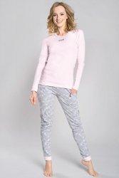 Piżama Damska Model Milana dł.r. dł.sp Morela/Melange