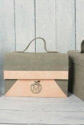Sztywna torebka teczka MANZANA w zygzak 840K Siwa Pink