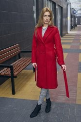 Dwurzędowy wiosenny płaszcz z paskiem Bella PLA036 Red