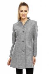 Płaszcz flauszowy wiosenny Model 07 Dark Grey Melange