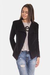 Bluza z asymetrycznym zamkiem taliowana 137 Black