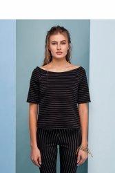 Dziewczęca bluzka w delikatne paski GR1361 Black