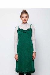 Ciepła sukienka na cienkich ramiączkach GR1575 Green