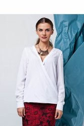 Bluzka o swobodnym kroju z długimi rękawami GR1329 White
