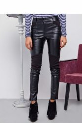 Spodnie z eko-skóry na zamszu GR1188 Black