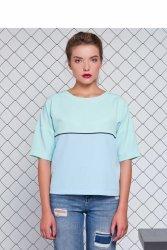 Bluzka z tkaniny kostiumowej GR1083 Blue/Mint